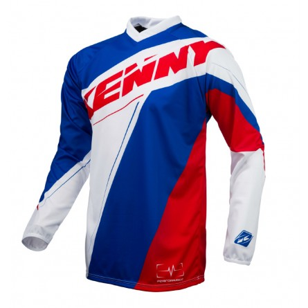 Kenny | Performance Cross-Shirt Rood / Wit / Blauw
