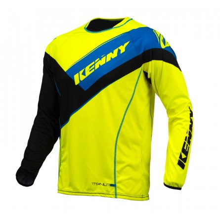 Kenny | Titanium Cross-Shirt Zwart / Neongeel / Blauw