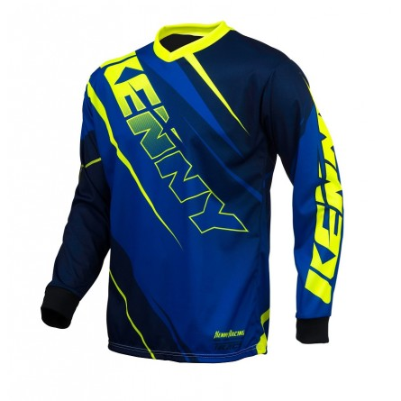 Kenny | Track Cross-Shirt Blauw / Neongeel