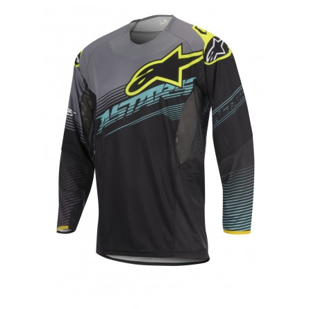 Alpinestars | Techstar Factory Shirt Zwart/ Teal/ Fluor Yellow