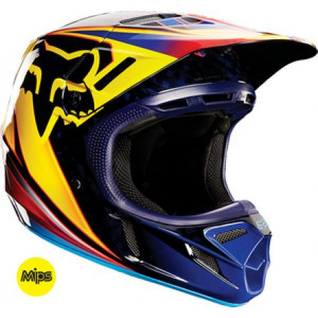 Fox | V4 Race Cross Helm Oranje / Geel / Blauw
