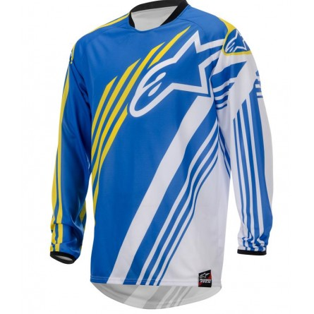 Alpinestars | Racer Supermatic Cross-Shirt Blauw / Wit / Geel